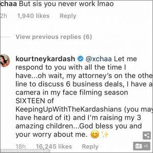Kourtney Kardashian Hits Back At Fan Who Said She 'Never' Works